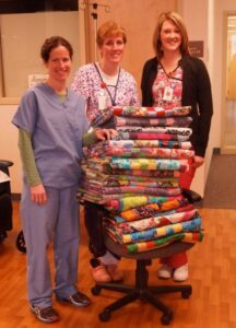 Stack of Quilts on chair at hospital